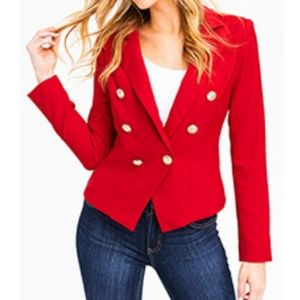 NWT! Red double-breasted golden button Blazer